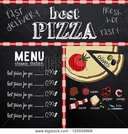 Sample menu design in the pizzeria, freehand drawing