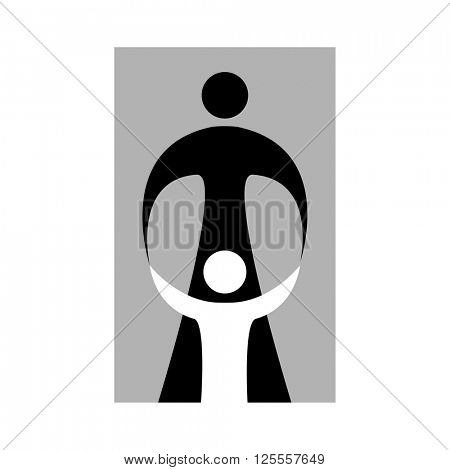 Mother care of child. Sign symbol of love, care and guardianship. Template for logo of social organization, Foundation for Protection of Children, the medical center and etc. Vector illustration.
