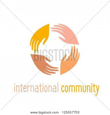 International community. Logo template. People connect sign. Vector illustration.