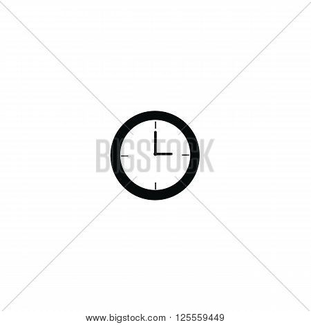 Clock at 3 a.m morning or 3 p.m. afternoon black color isolated on white background