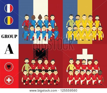 Players with flags GROUP A  in france 2016