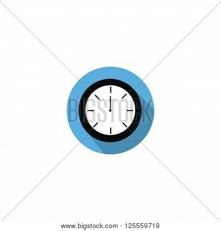 Clock at 12:00 noon or 0:00 midnight flat blue icon with long shadow isolated on white background