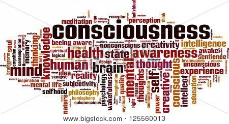 Consciousness word cloud concept. Vector illustration on white