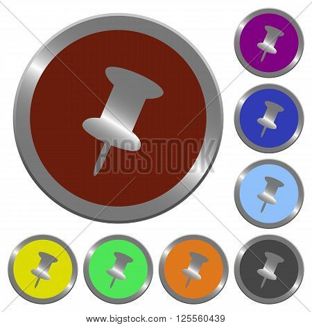 Set of color glossy coin-like push pin buttons.