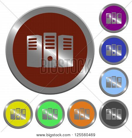 Set of color glossy coin-like server hosting buttons.