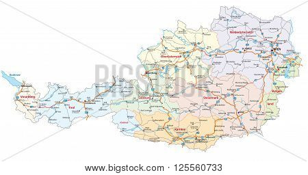 detailed roads and administrative map of Austria