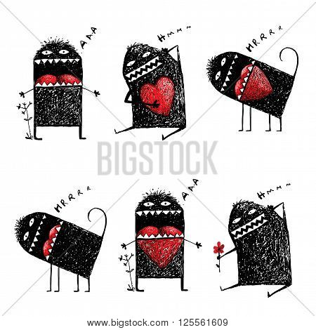 Abstract black funny creature, bizarre humorous, creative character. Hand drawn vector illustration