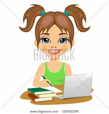 cute schoolgirl doing homework with laptop and books on desk isolated on white background