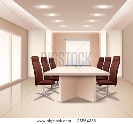 Realistic meeting room interior in pale rose color with table brown office armchairs and board vector illustration