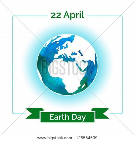 Vector poster for 22 April, Earth Day. International Mother Earth Day. The planet in blue and white colors. Globe and green ribbon as a concept for Earth Day. Template for sticker, flyer or banner.