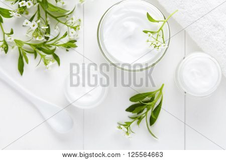 Medical therapy cosmetic cream with herbal flowers hygienic skincare product wellness and relaxation mask in glass jar on white background poster