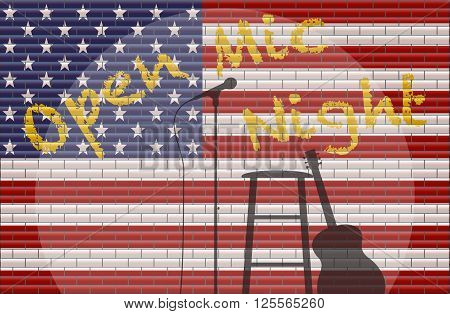 An Open Mic Night With Spotlight on guitar stool and microphone on a USA flag Background