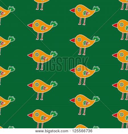 Small orange hand drawn bird seamless pattern on a green background. The cartoon bird with a big red beak. Vector illustration