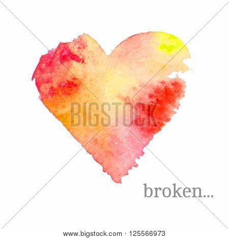 Vector broken heart made of watercolor. Handdrawn mood emblem. Abstract background in red, pink and yellow colors. Holiday vector illustration. Great for cards, banners, tags and other.