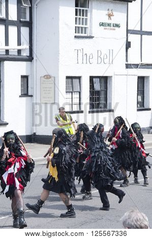Tewkesbury, UK - July 17, 2015: Mythago Morris perform in the Medieval Festival Parade on 17 July 2015 at Gloucester Road, Tewkesbury