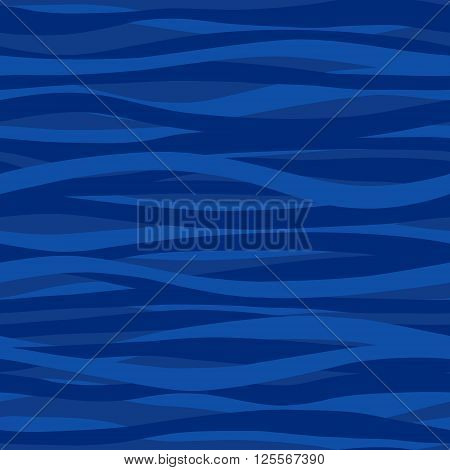 Blue Seamless Pattern With Waves.
