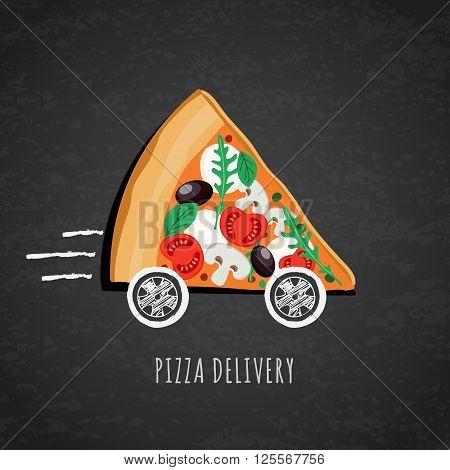 Vector Design For Pizza Delivery, Italian Restaurant Menu, Cafe, Pizzeria.