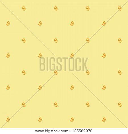 Seamless pattern of orange whorls curlicues on yellow backgrownd