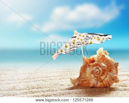 Summer beach. Seashell and umbrella on a beach sand against the background of the ocean.