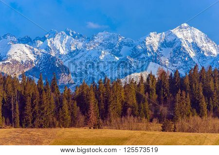 Polish Tatra Mountains Scenery. Mountain Peaks Covered by Snow. Early Spring in the Tatra Mountains. Lesser Poland Europe.