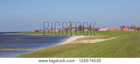 Panorama of sea and dikes around Hindeloopen Netherlands