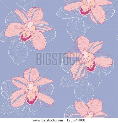vector seamless pattern with pink orchids, tender tropical background, floral seamless wallpaper in trendy colors of pantone 2016