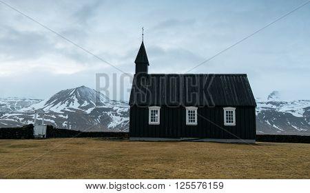 Famous black church of Budir at Snaefellsnes peninsula region in Iceland