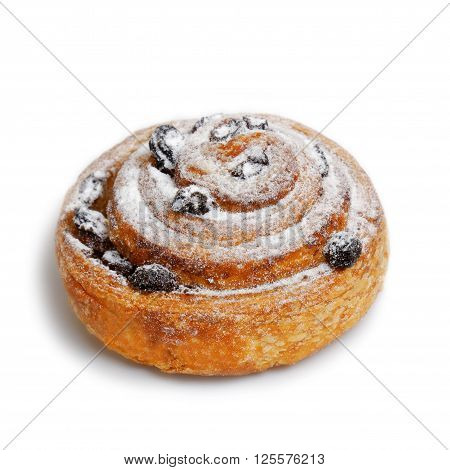 Cinnamon roll with raisins isolated on white with shadow