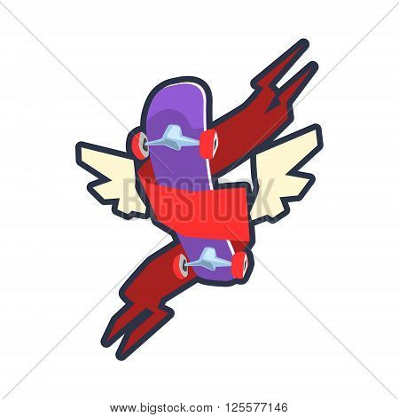 Winged Skateboard Outlined Flat Vector Logo Colorful Design Isolated On White Background