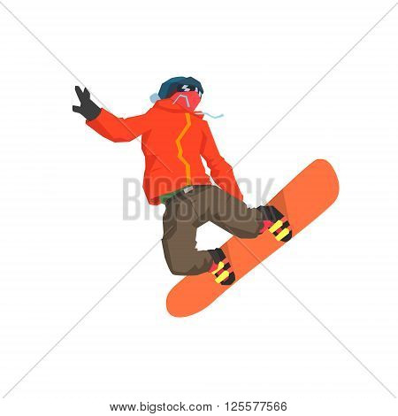 Snowboarder Mid-air Flat Isolated Simple Design Vector Illustration on White Background