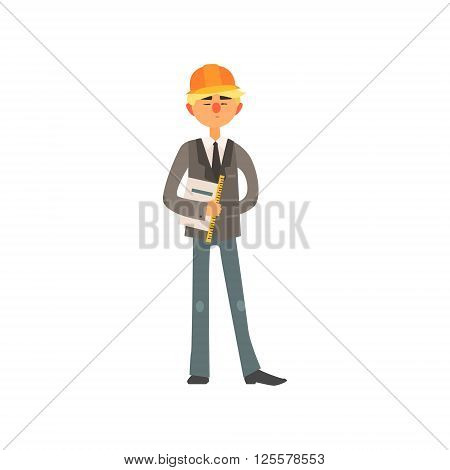 Profession Construction Superintendant Primitive Cartoon Style Isolated Flat Vector Illustration On White Background