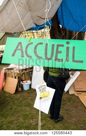 STRASBOURG FRANCE - APR 9 2016: Reception hand made sign at the entrance of 'Nuit Debout' or 'Standing night' movement at the Place de la Republique in Strasbourg