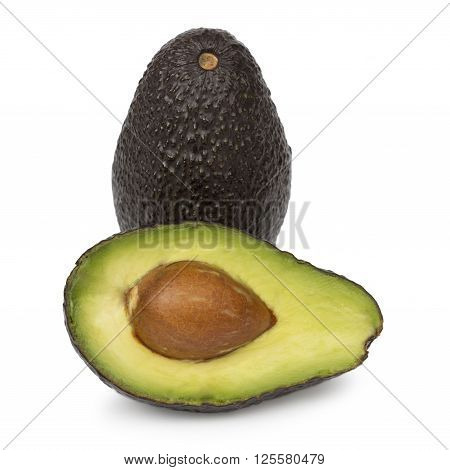 Whole avocado and half of avocado isolated on white