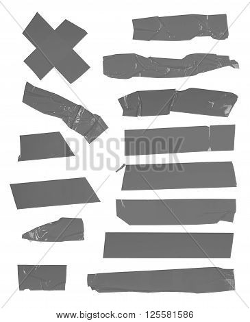 Adhesive yellow tape set. Isolated on white.