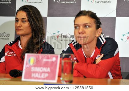 Romanian Tennis Player Simona Halep And Monica Niculescu During A Press Conference