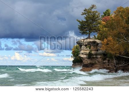 Chapel Rock and Lake Superior at Pictured Rocks National Lakeshore in the Upper Peninsula of Michigan poster
