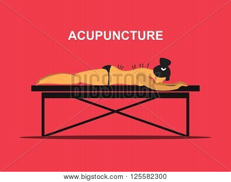 Vector illustration of a patient on the table for massage and acupuncture