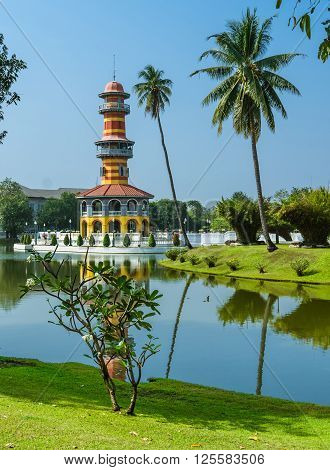 Observator tower into the royal garden, Bang Pa-In, Thailand