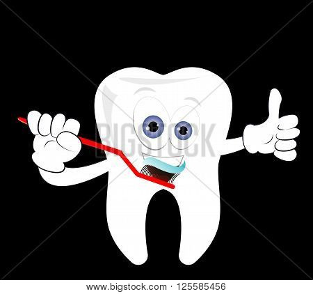 Happy tooth brushing his teeth with toothpaste. Cartoonish tooth dental care vector illustration