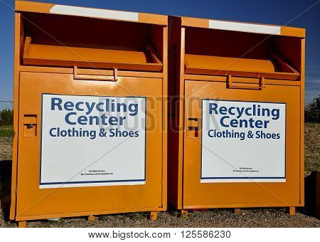 Recycling center collection bins for clothing disposal industry and waste management