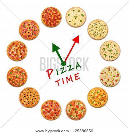 Pizza delivery company logo template with sample text. Clock made by many pizzas. Pizza time concept, example for pizza box. Italian food watch with clock hads in italian colors. Variety of pizza.
