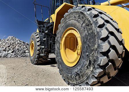 Heavy Equipment Machine Big Wheel Loader On Construction Jobsite
