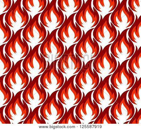 Fire symbols seamless pattern. Vector illustration. Spurts of flame