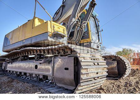 Industrial Heavy Equipment Machine Excavator Road Street Jobsite