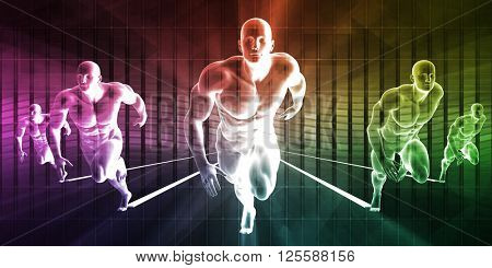 Strength and Conditioning as a Fitness Team for Training 3D Illustration Render