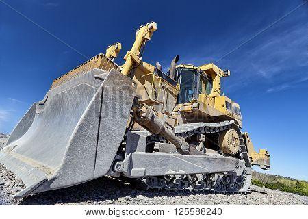 Heavy Equipment Machine Bulldozer On Construction Jobsite