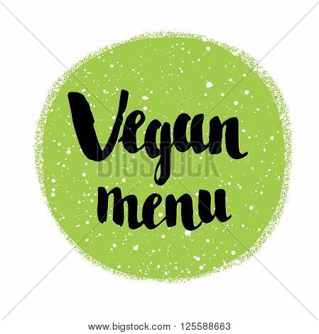 Raw vegan badges. Vector hand drawn labels. Green spot. Caligraphy typographic text.
