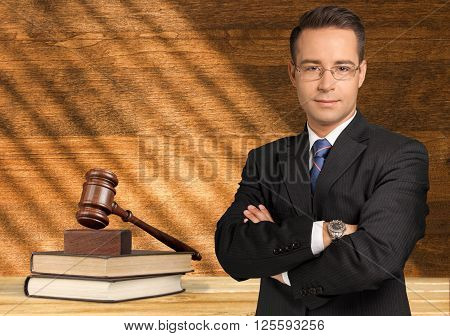 Handsome lawyer copy happy business financial success