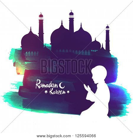 White silhouette of a Islamic boy offering Namaz (Muslims Prayer) in front of a creative Mosque for Ramadan Kareem celebration.