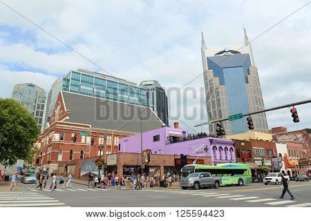 NASHVILLE,TN,USA - SEP 27, 2015: AT&T Building and historical Broadway in downtown Nashville, Tennessee, USA. Lower Broadway is famous for entertainment district of country music.